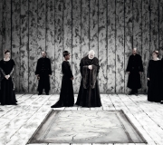 <span class=gallery-multiple>King Lear decides to split his kingdom between his three daughters and demands that they profess their love for him, the greater their proclamations, the greater their inheritance. | How would you portray Lear's court in this scene? | Donald Cooper / Photostage.</span>