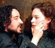 <span class=gallery-multiple>Richard seduces Lady Anne convincing her to marry him, even though he is responsible for the death of her husband Prince Edward. | This is not a traditional wooing scene, compare and contrast the language and events in this scene with one of Shakespeare's more conventional comedic love scenes. | Donald Cooper / Photostage.</span>