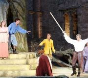 <span class=gallery-multiple>Theseus, Duke of Athens, and Hippolyta, Queen of the Amazons, are discussing their forthcoming marriage when Egeus bursts in, demanding the right to force his daughter Hermia to marry Demetrius. Hermia has refused to obey because she loves Lysander. | Identify the characters in this image from Act 1 Scene 1, and say what line or lines are being spoken here to provoke these reactions. What does Queen Hippolyta seem to think of the way her future husband is dealing with the matter of Hermia's marriage? | © Donald Cooper/Photostage</span>