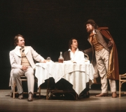 <span class=gallery-multiple>Antonio (left), the Christian merchant after whom the play is named, is in a sad and troubled mood as he talks with his fellow Christians, Bassanio (centre) and Gratiano. However, Antonio is unable to pinpoint the cause of his unhappiness. | This production stages the opening scene in a street cafe. How well do you think this works as a setting? Where would you set it if you were directing the play? | Royal Shakespeare Company, 1981 (Act 1 Scene 1)</span>