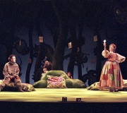<span class=gallery-multiple>Rosalind, Celia and Corin eavesdrop on Silvius attempting to court Phebe. The tress are decorated with love poems Orlando has written about Rosalind.| Compare and contrast the people of Arden with the courlty characters.|Donald Cooper/Photostage</span>